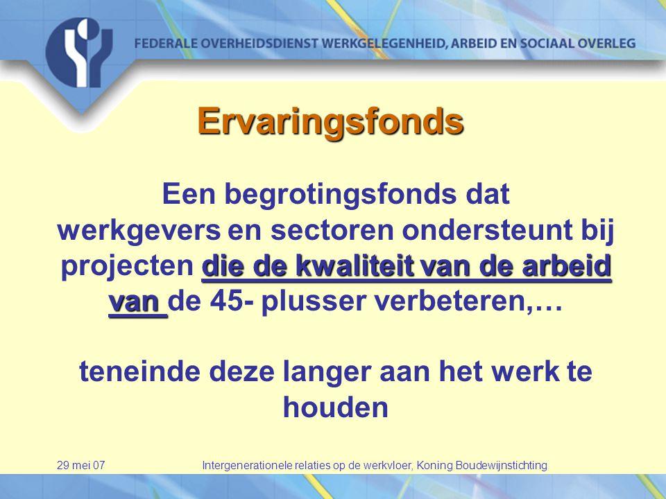 29 mei 07Intergenerationele relaties op de werkvloer, Koning Boudewijnstichting Ervaringsfonds Een begrotingsfonds dat die de kwaliteit van de arbeid van werkgevers en sectoren ondersteunt bij projecten die de kwaliteit van de arbeid van de 45- plusser verbeteren,… teneinde deze langer aan het werk te houden
