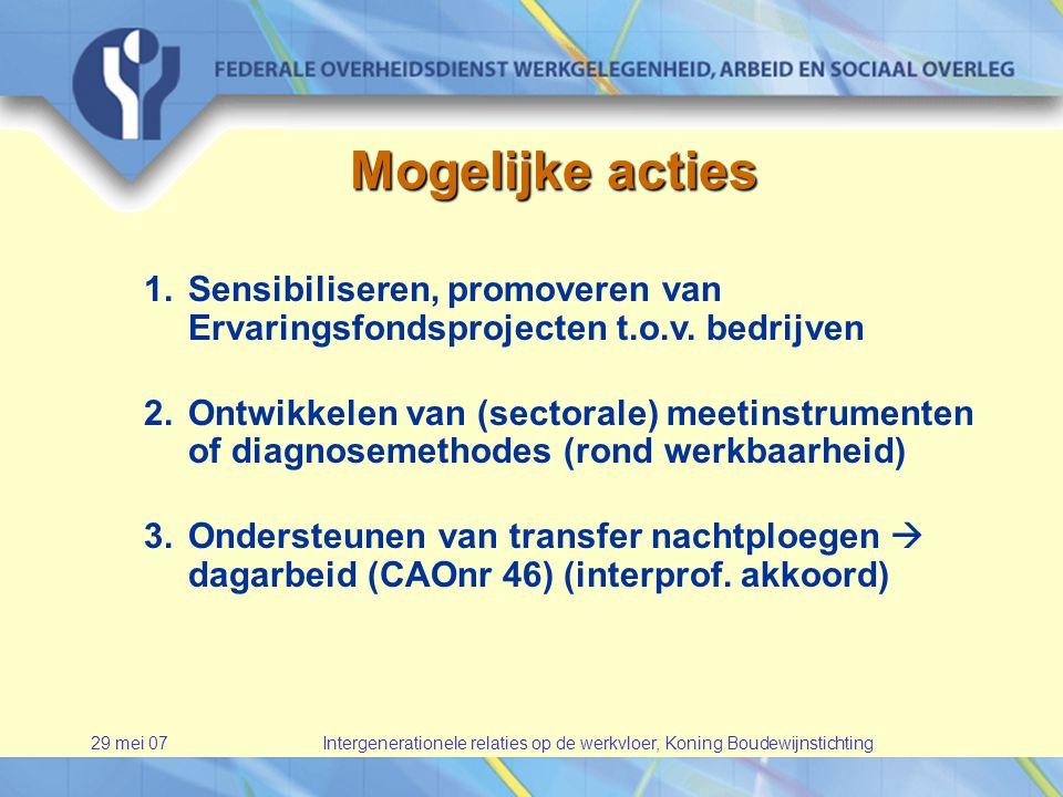 29 mei 07Intergenerationele relaties op de werkvloer, Koning Boudewijnstichting Mogelijke acties 1.Sensibiliseren, promoveren van Ervaringsfondsprojecten t.o.v.