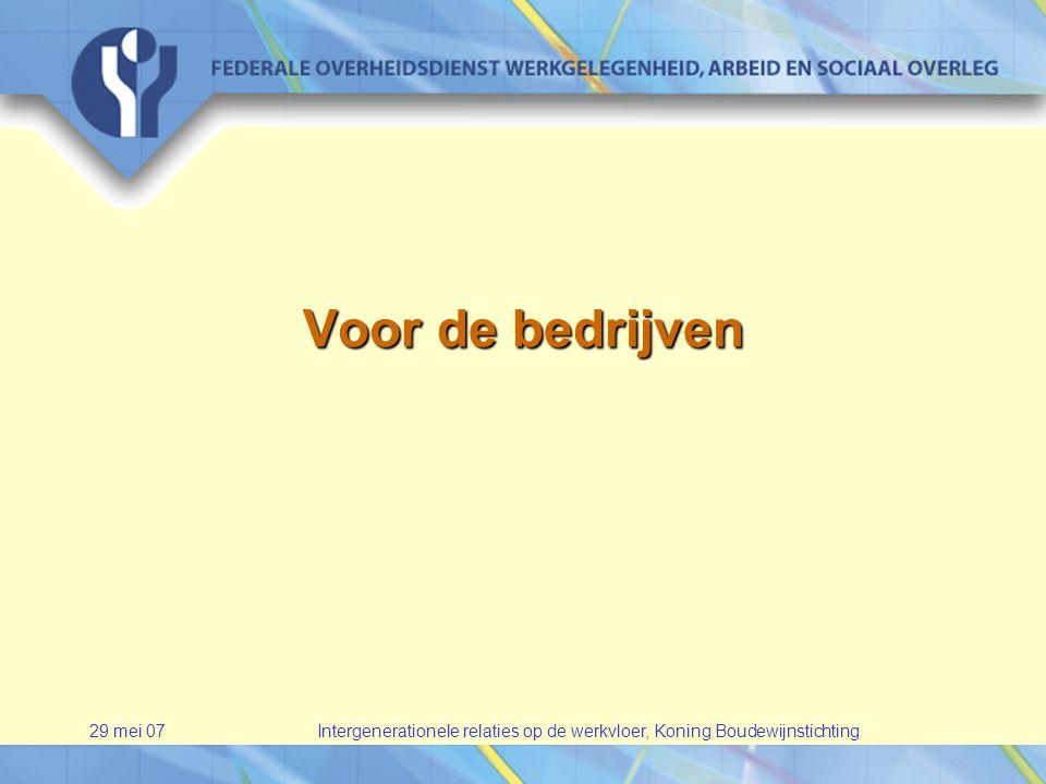 29 mei 07Intergenerationele relaties op de werkvloer, Koning Boudewijnstichting Voor de bedrijven