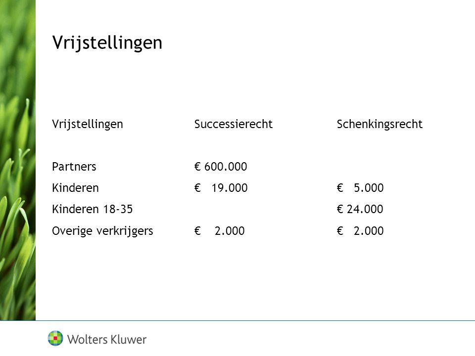 Vrijstellingen Vrijstellingen SuccessierechtSchenkingsrecht Partners€ 600.000 Kinderen€ 19.000€ 5.000 Kinderen 18-35€ 24.000 Overige verkrijgers€ 2.000€ 2.000