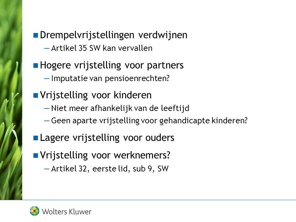 Vrijstellingen Vrijstellingen SuccessierechtSchenkingsrecht Partners€ 600.000 Kinderen€ 19.000€ 5.000 Kinderen 18-35€ 24.000 Overige verkrijgers€ 2.00