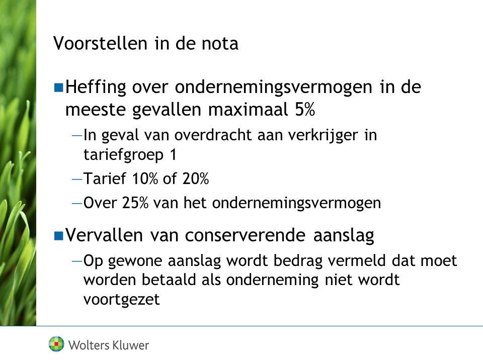 bedrijfsopvolgingsregeling  Geconserveerde onbelaste waarde —liquidatiewaarde minus lagere voortzettingswaarde —75% van de voortzettingswaarde  Geco