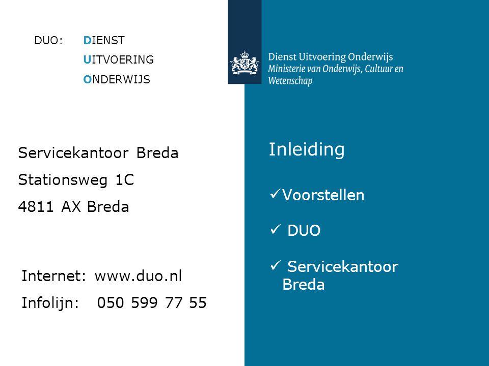 Inleiding  Voorstellen  DUO  Servicekantoor Breda DUO:DIENST UITVOERING ONDERWIJS Servicekantoor Breda Stationsweg 1C 4811 AX Breda Internet: www.duo.nl Infolijn: 050 599 77 55
