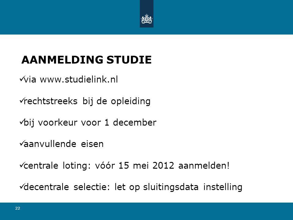 22 AANMELDING STUDIE  via www.studielink.nl  rechtstreeks bij de opleiding  bij voorkeur voor 1 december  aanvullende eisen  centrale loting: vóór 15 mei 2012 aanmelden.
