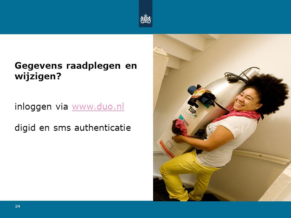 24 Gegevens raadplegen en wijzigen? inloggen via www.duo.nl digid en sms authenticatiewww.duo.nl