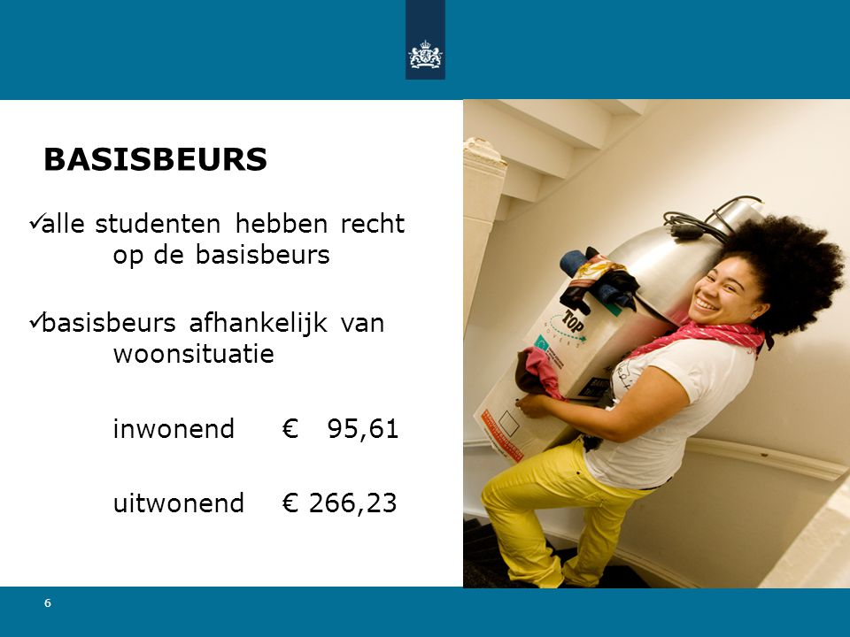 6 BASISBEURS  alle studenten hebben recht op de basisbeurs  basisbeurs afhankelijk van woonsituatie inwonend€ 95,61 uitwonend€ 266,23