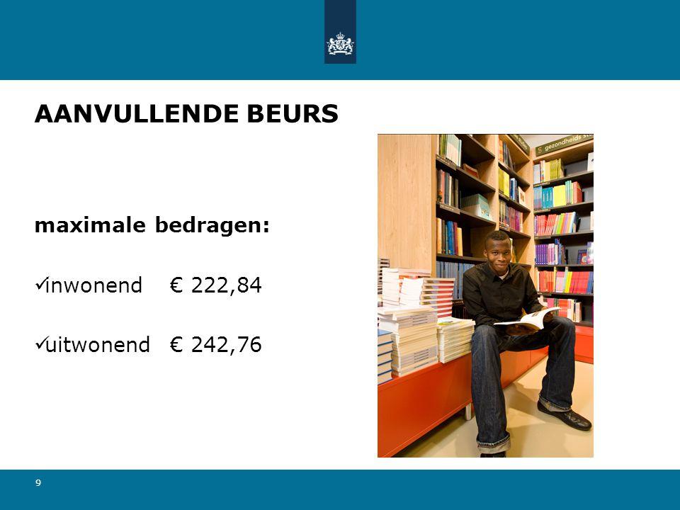 9 AANVULLENDE BEURS maximale bedragen:  inwonend€ 222,84  uitwonend€ 242,76