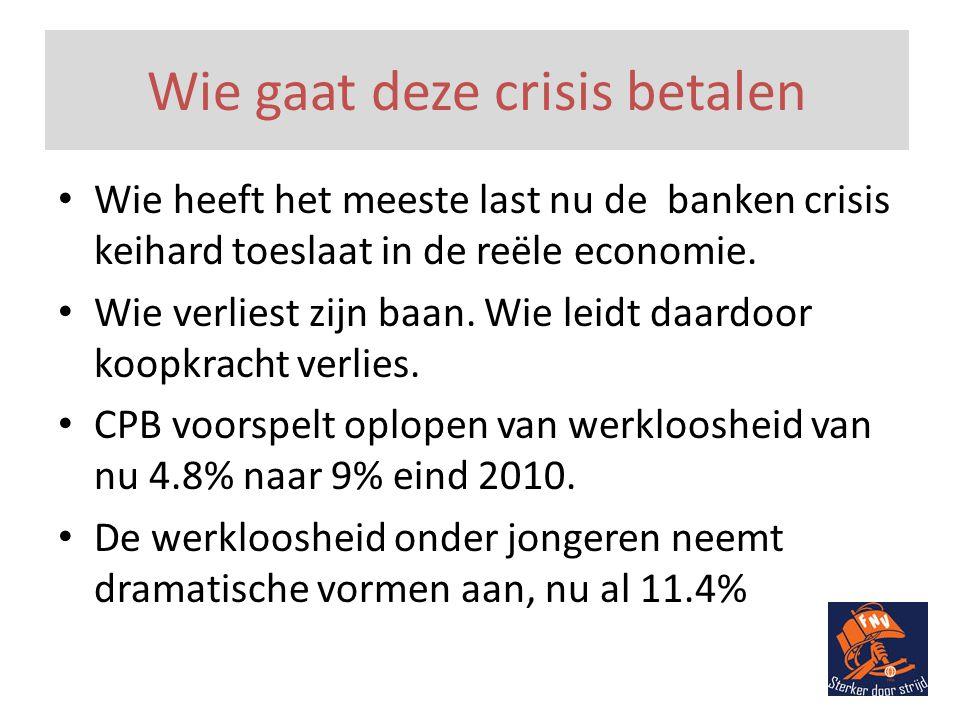 Wie gaat deze crisis betalen • Wie heeft het meeste last nu de banken crisis keihard toeslaat in de reële economie.