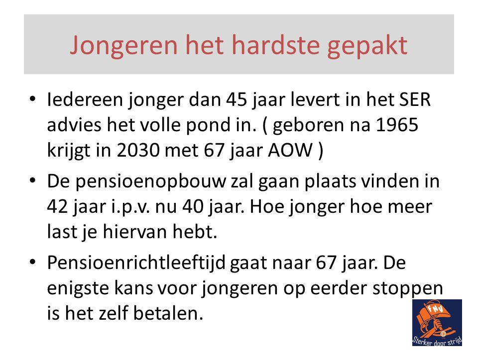 Jongeren het hardste gepakt • Iedereen jonger dan 45 jaar levert in het SER advies het volle pond in.