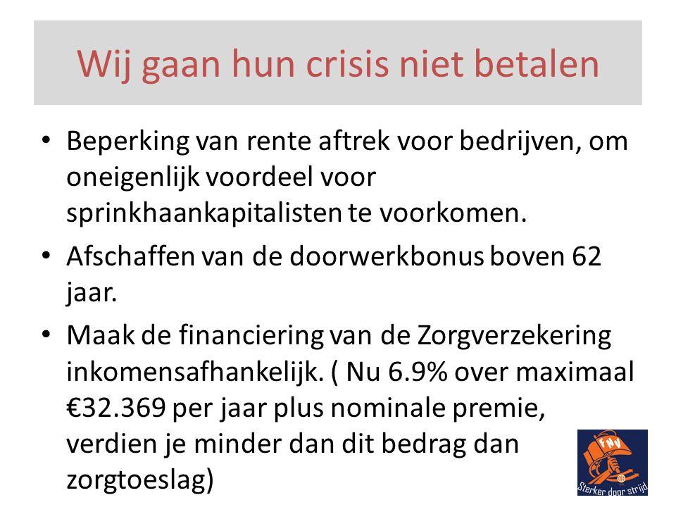 Wij gaan hun crisis niet betalen • Beperking van rente aftrek voor bedrijven, om oneigenlijk voordeel voor sprinkhaankapitalisten te voorkomen.