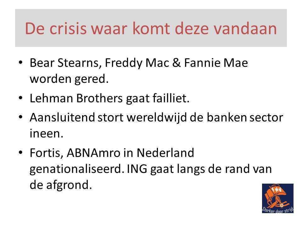 De crisis waar komt deze vandaan • Bear Stearns, Freddy Mac & Fannie Mae worden gered.