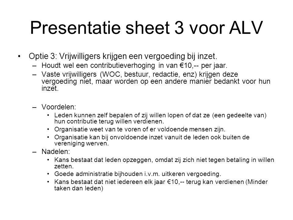 Presentatie sheet 3 voor ALV •Optie 3: Vrijwilligers krijgen een vergoeding bij inzet.