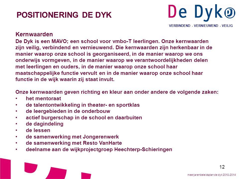 12 VERBINDEND - VERNIEUWEND - VEILIG POSITIONERING DE DYK Kernwaarden De Dyk is een MAVO; een school voor vmbo-T leerlingen.