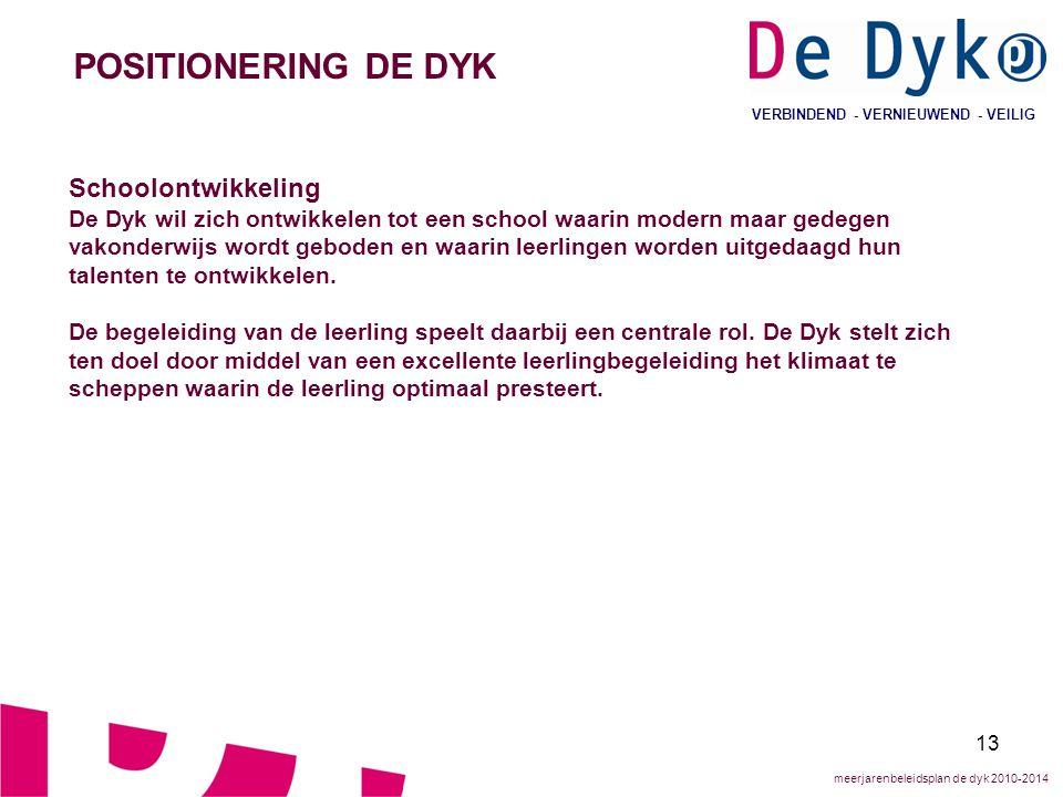 13 VERBINDEND - VERNIEUWEND - VEILIG POSITIONERING DE DYK Schoolontwikkeling De Dyk wil zich ontwikkelen tot een school waarin modern maar gedegen vakonderwijs wordt geboden en waarin leerlingen worden uitgedaagd hun talenten te ontwikkelen.