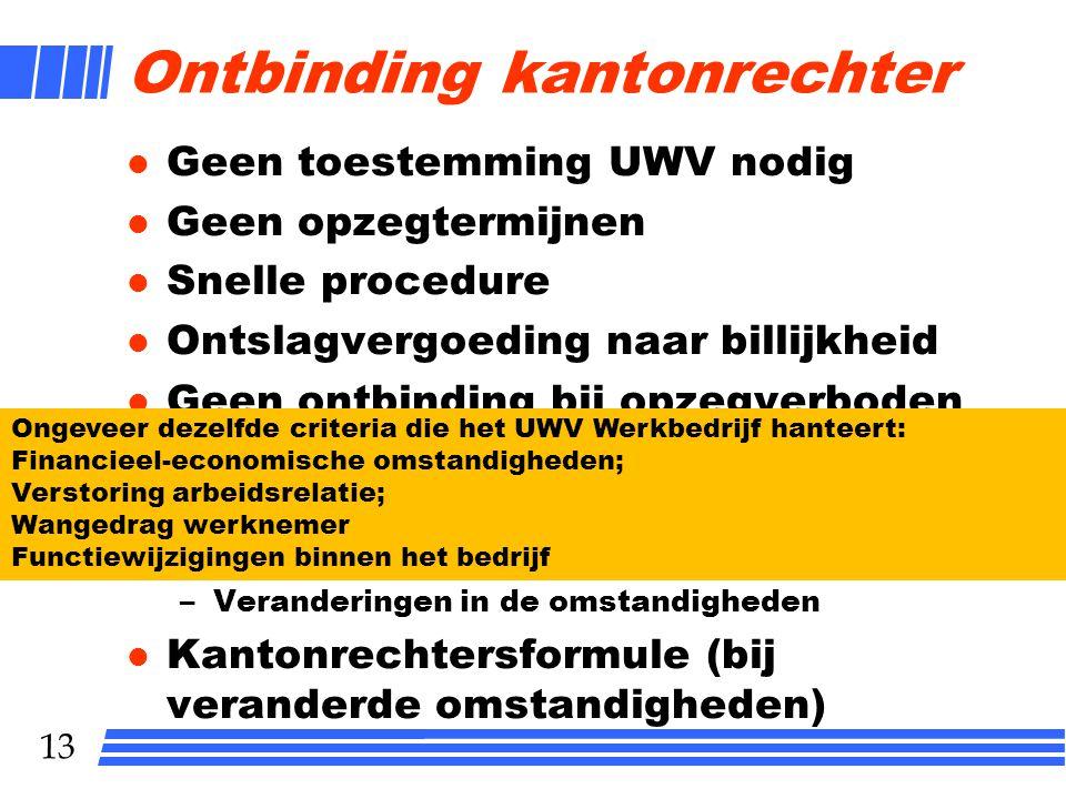 13 Ontbinding kantonrechter l Geen toestemming UWV nodig l Geen opzegtermijnen l Snelle procedure l Ontslagvergoeding naar billijkheid l Geen ontbindi