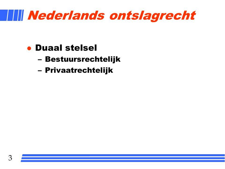 3 Nederlands ontslagrecht l Duaal stelsel –Bestuursrechtelijk –Privaatrechtelijk