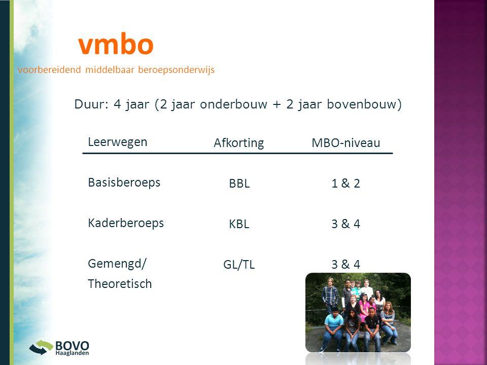 vmbo voorbereidend middelbaar beroepsonderwijs Leerwegen Basisberoeps Kaderberoeps Gemengd/ Theoretisch Afkorting BBL KBL GL/TL MBO-niveau 1 & 2 3 & 4