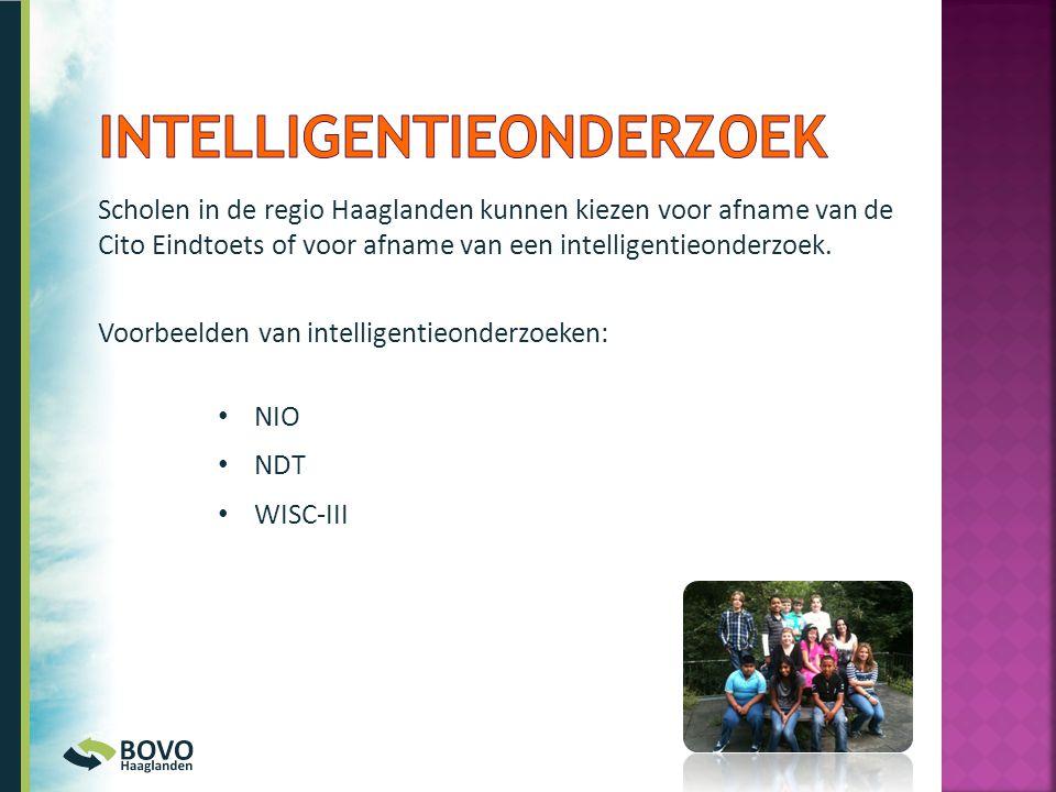 Scholen in de regio Haaglanden kunnen kiezen voor afname van de Cito Eindtoets of voor afname van een intelligentieonderzoek. Voorbeelden van intellig