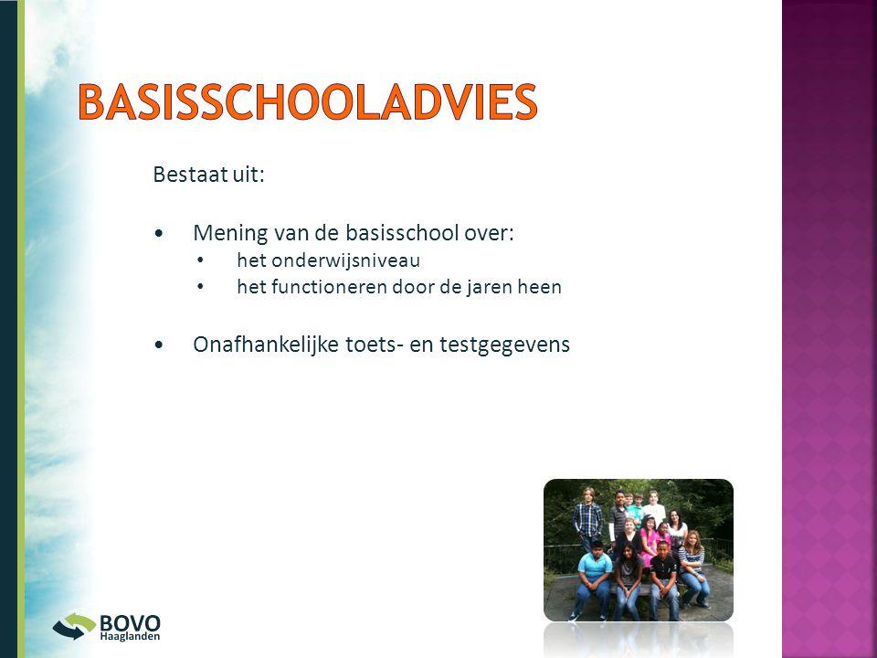 Bestaat uit: •Mening van de basisschool over: • het onderwijsniveau • het functioneren door de jaren heen •Onafhankelijke toets- en testgegevens