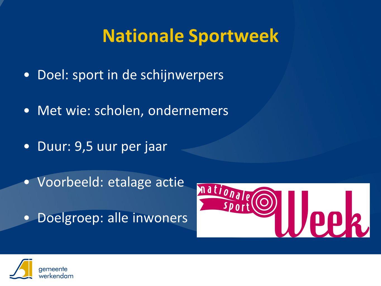 Nationale Sportweek •Doel: sport in de schijnwerpers •Met wie: scholen, ondernemers •Duur: 9,5 uur per jaar •Voorbeeld: etalage actie •Doelgroep: alle