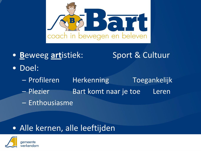 •Beweeg artistiek:Sport & Cultuur •Doel: –Profileren HerkenningToegankelijk –Plezier Bart komt naar je toeLeren –Enthousiasme •Alle kernen, alle leeft