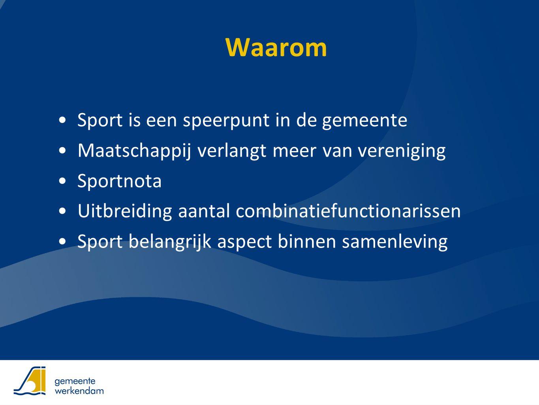 Waarom •Sport is een speerpunt in de gemeente •Maatschappij verlangt meer van vereniging •Sportnota •Uitbreiding aantal combinatiefunctionarissen •Spo