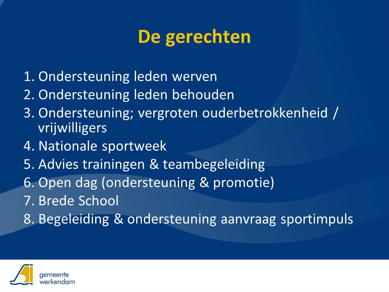 ondersteuning Samenwerken Informatiebijeenkomst Impulsregeling Gemeente Werkendam, NOC*NSF 12 december 2012 www.sportindebuurt.nl Regioadviseur NOC*NSF: Bertina Klingens