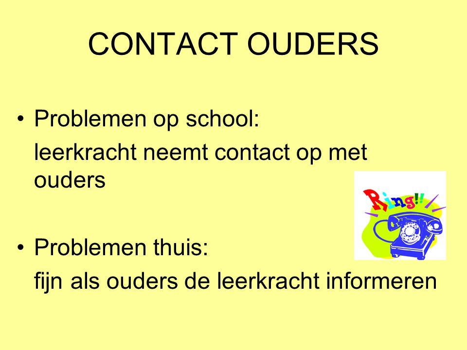 CONTACT OUDERS •Problemen op school: leerkracht neemt contact op met ouders •Problemen thuis: fijn als ouders de leerkracht informeren