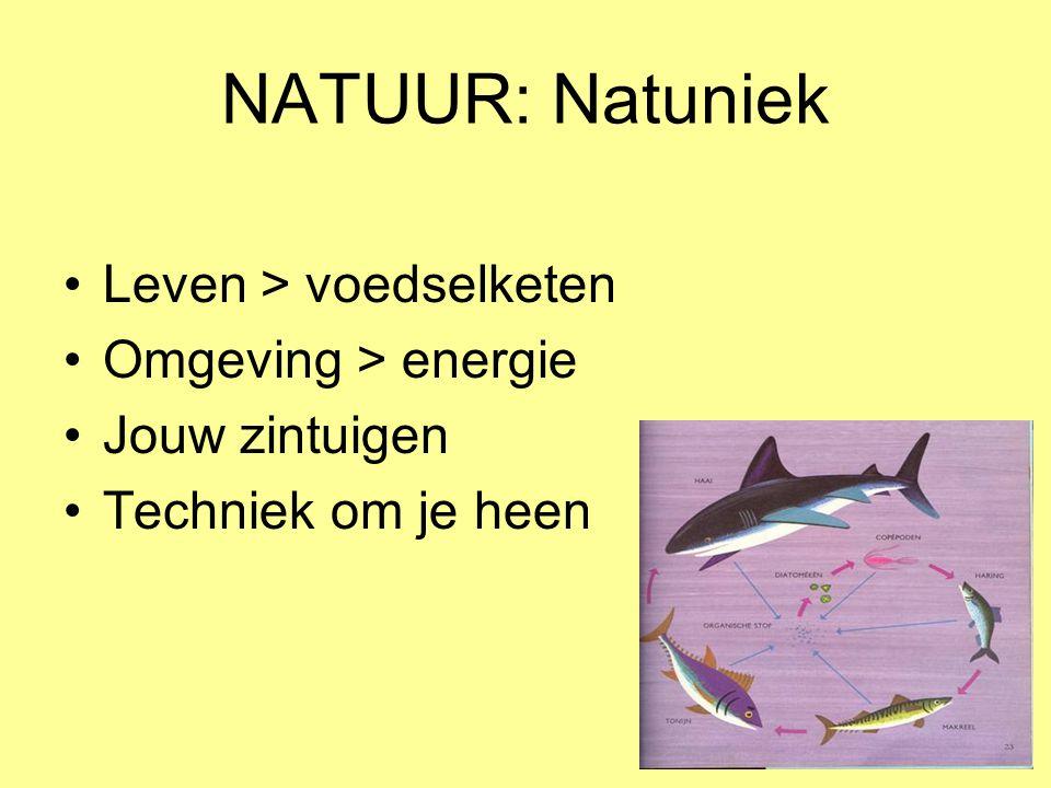 NATUUR: Natuniek •Leven > voedselketen •Omgeving > energie •Jouw zintuigen •Techniek om je heen