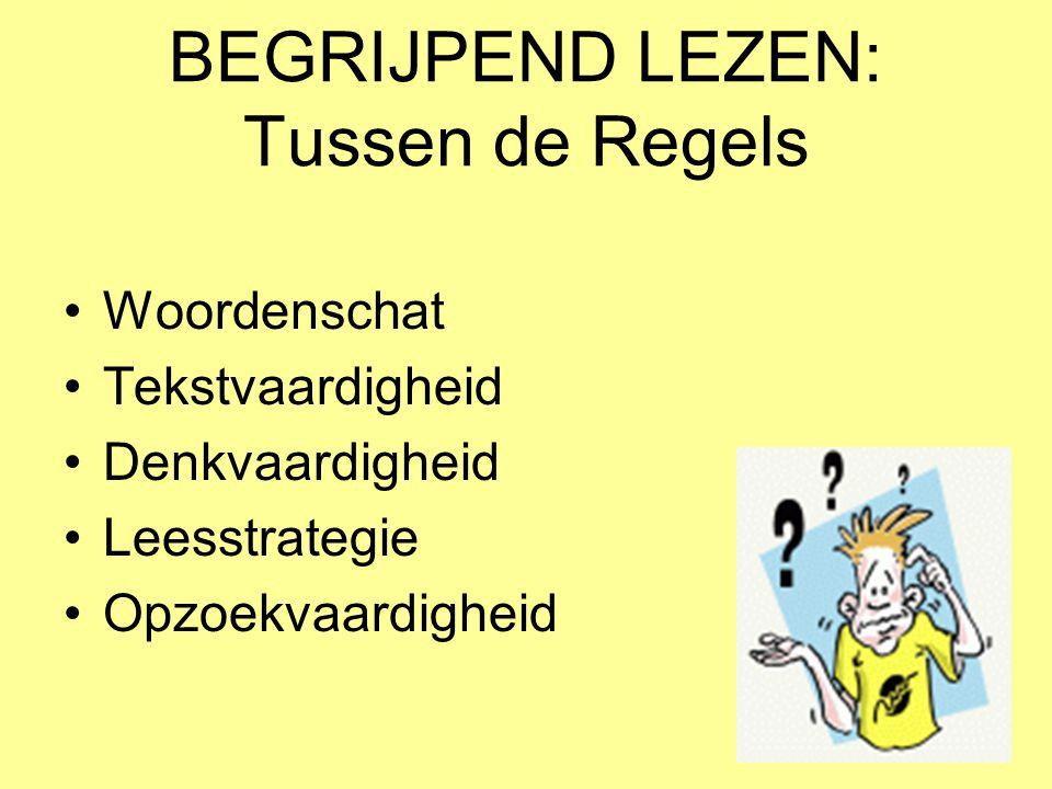 BEGRIJPEND LEZEN: Tussen de Regels •Woordenschat •Tekstvaardigheid •Denkvaardigheid •Leesstrategie •Opzoekvaardigheid