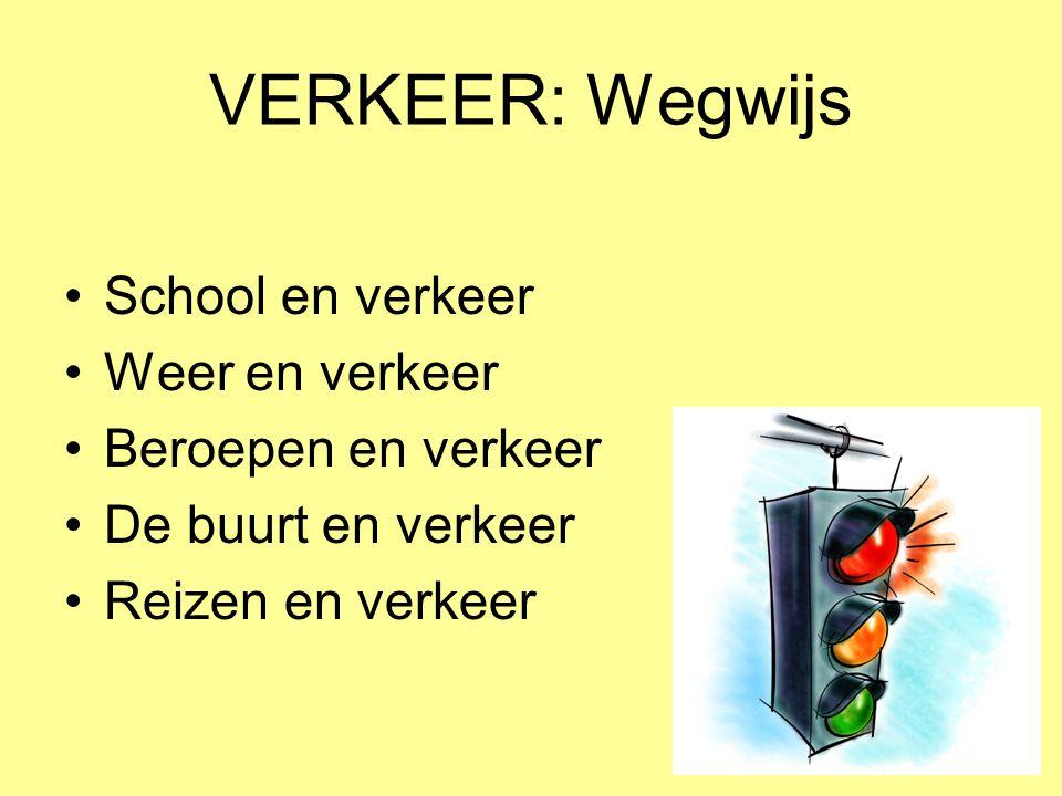 VERKEER: Wegwijs •School en verkeer •Weer en verkeer •Beroepen en verkeer •De buurt en verkeer •Reizen en verkeer