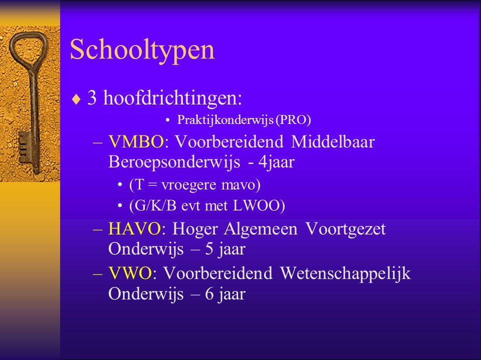 Schooltypen  3 hoofdrichtingen: •Praktijkonderwijs (PRO) –VMBO: Voorbereidend Middelbaar Beroepsonderwijs - 4jaar •(T = vroegere mavo) •(G/K/B evt me
