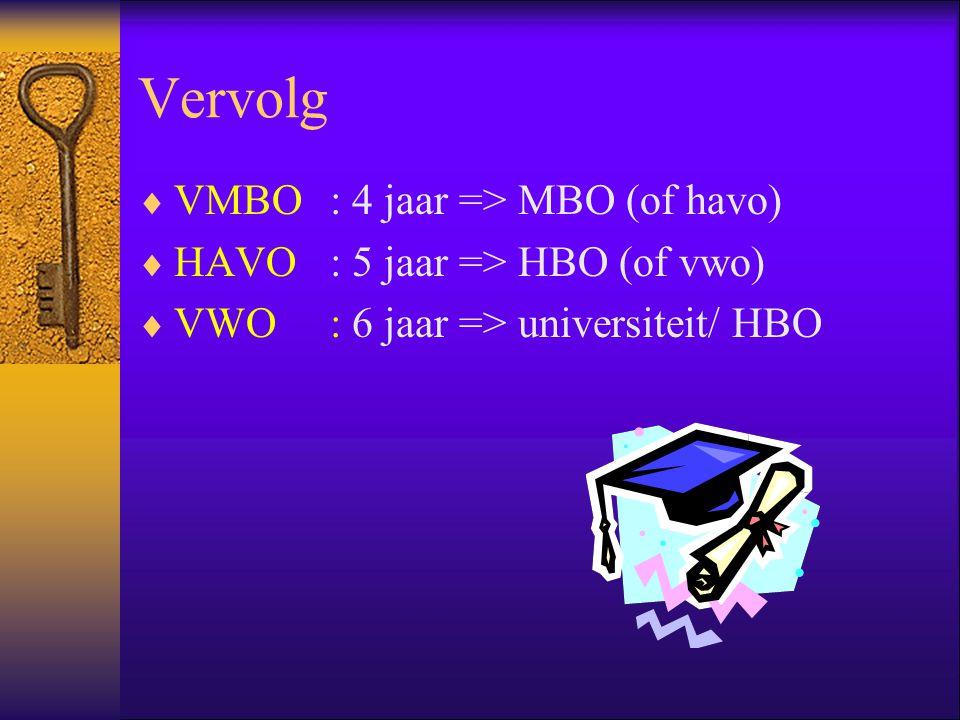 Vervolg  VMBO: 4 jaar => MBO (of havo)  HAVO: 5 jaar => HBO (of vwo)  VWO: 6 jaar => universiteit/ HBO