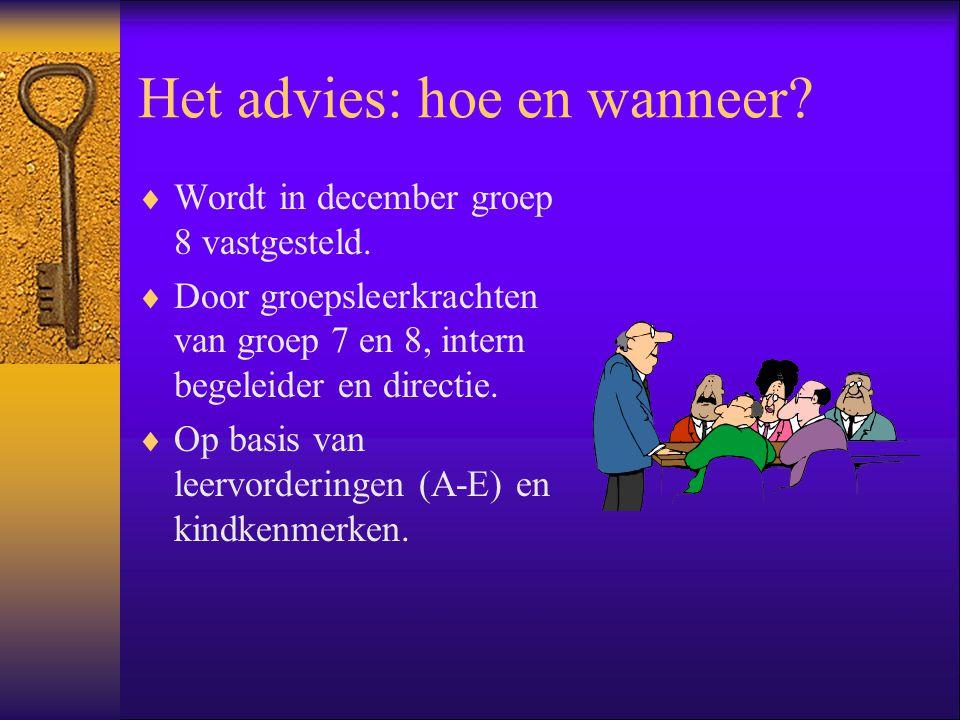 Het adviesgesprek  Januari; gesprek tussen leerkracht (en evt IB'er) en kind en ouder(s)  Adviesformulier mee