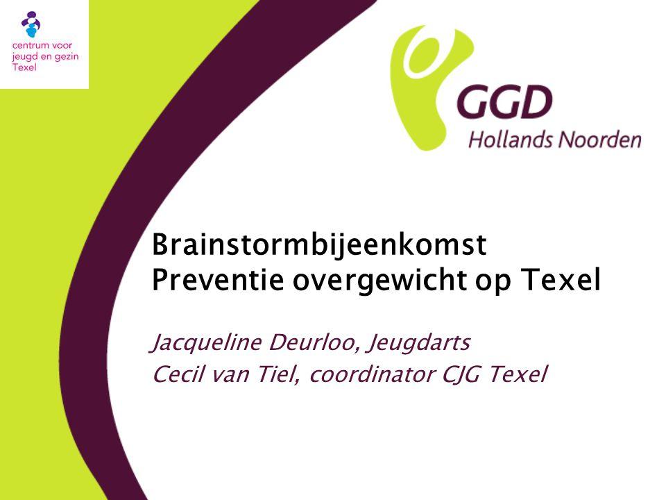 Brainstormbijeenkomst Preventie overgewicht op Texel Jacqueline Deurloo, Jeugdarts Cecil van Tiel, coordinator CJG Texel