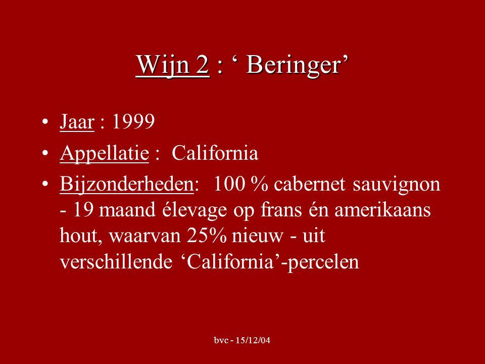 bvc - 15/12/04 Wijn 2 : ' Beringer' •Jaar : 1999 •Appellatie : California •Bijzonderheden: 100 % cabernet sauvignon - 19 maand élevage op frans én amerikaans hout, waarvan 25% nieuw - uit verschillende 'California'-percelen
