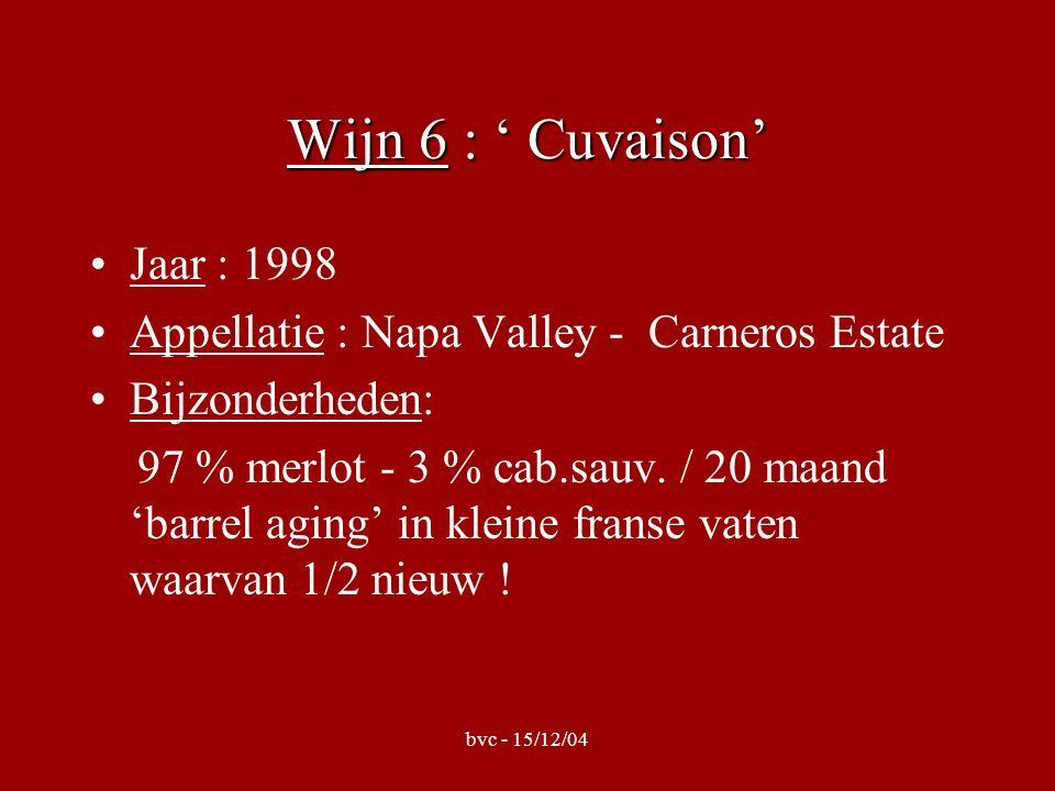 bvc - 15/12/04 Wijn 6 : ' Cuvaison' •Jaar : 1998 •Appellatie : Napa Valley - Carneros Estate •Bijzonderheden: 97 % merlot - 3 % cab.sauv.