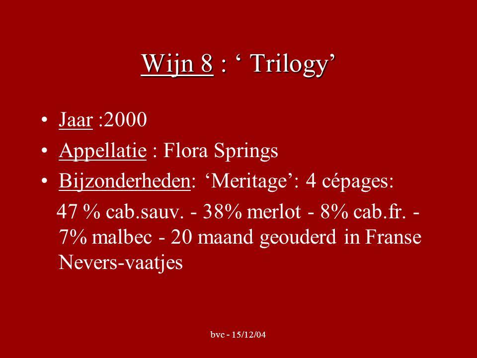 bvc - 15/12/04 Wijn 8 : ' Trilogy' •Jaar :2000 •Appellatie : Flora Springs •Bijzonderheden: 'Meritage': 4 cépages: 47 % cab.sauv.