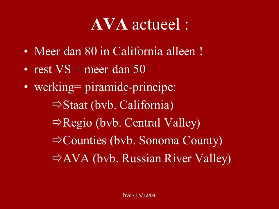 bvc - 15/12/04 AVA actueel : •Meer dan 80 in California alleen .