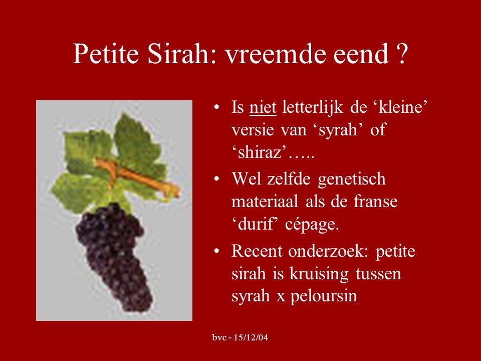 bvc - 15/12/04 Wijn 1 : 'Laurel Glen' •Jaar :2001 •Appellatie : California •Bijzonderheden: vinificatie op Amerikaanse vaten - 60% zinfandel (80 jaar oude stokken) - 30% carignan (115 jaar oude stokken) - 10% petite sirah