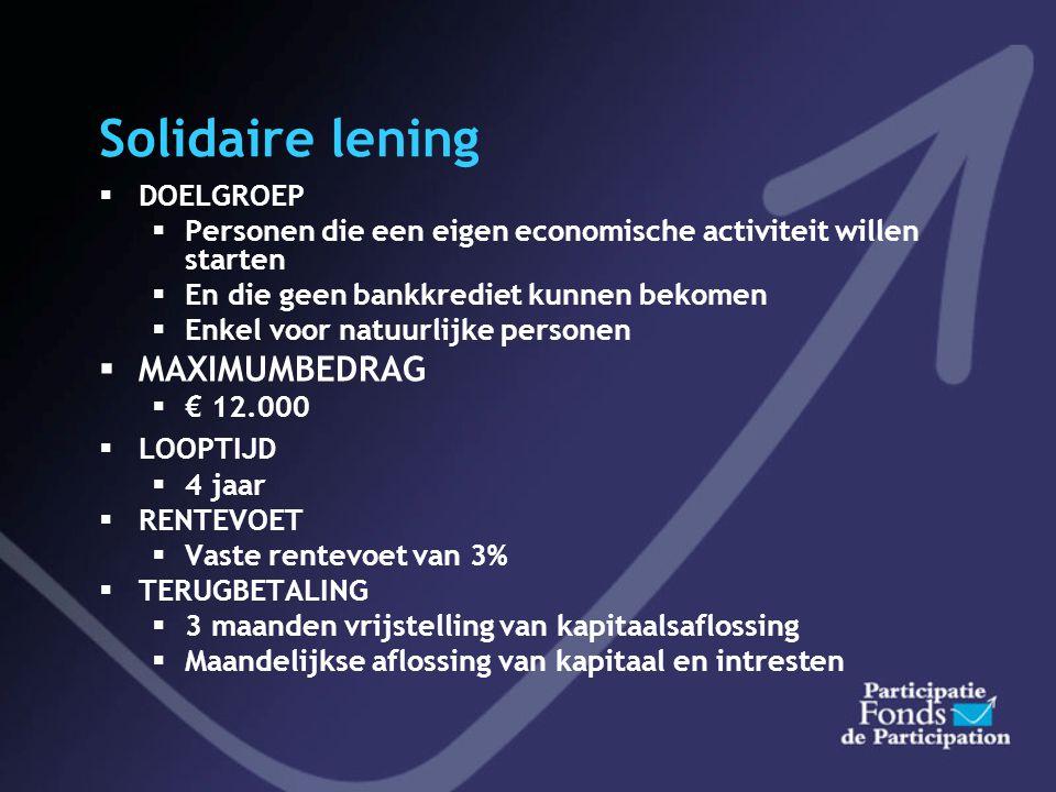 Modaliteiten Starteo/Optimeo  Bij overname door inkoop van aandelen en indien krediet Participatiefonds > 250000  Maximum € 350.000  35 % van de in