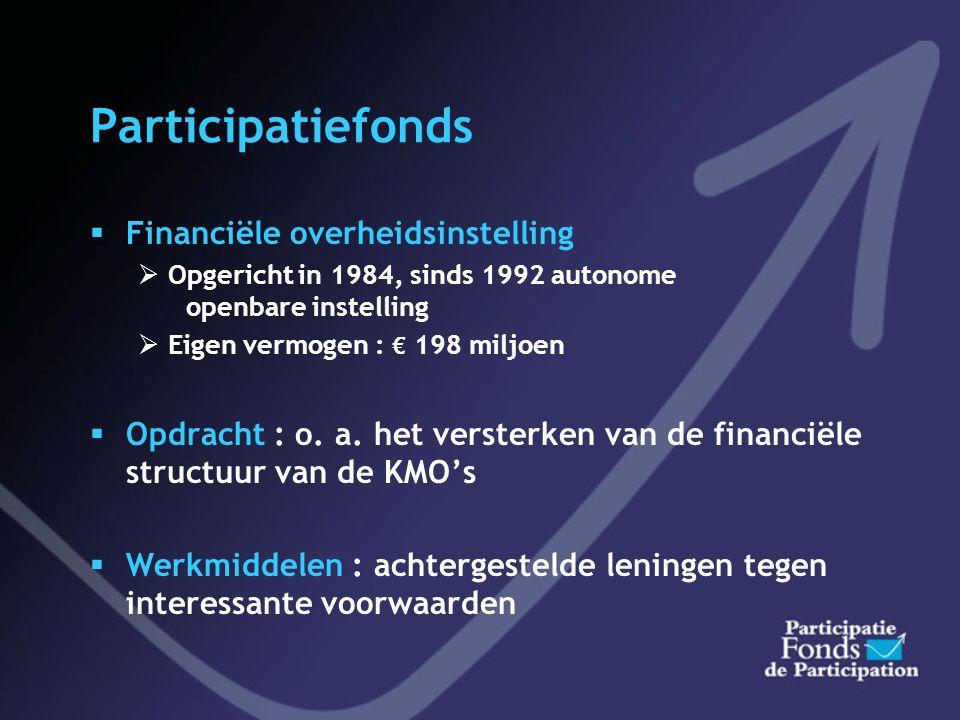 Participatiefonds  Financiële overheidsinstelling  Opgericht in 1984, sinds 1992 autonome openbare instelling  Eigen vermogen : € 198 miljoen  Opdracht : o.