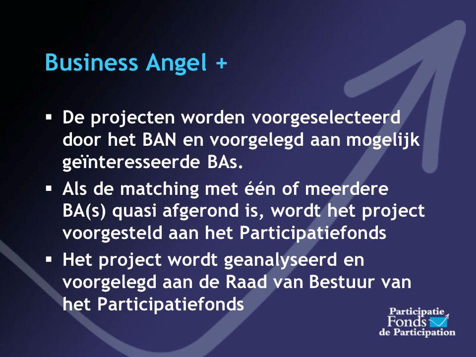 Business Angel +  DOELGROEP  ondernemingen in oprichting of in een strategische ontwikkelingsfase die kunnen rekenen op de financiële begeleiding va