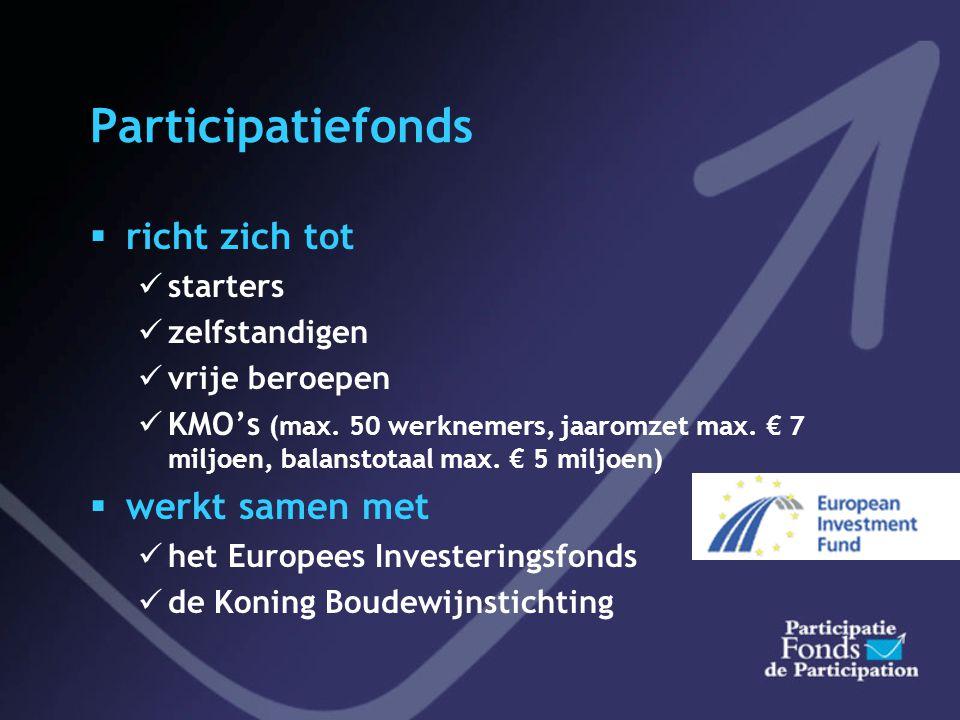 Participatiefonds  richt zich tot  starters  zelfstandigen  vrije beroepen  KMO's (max.