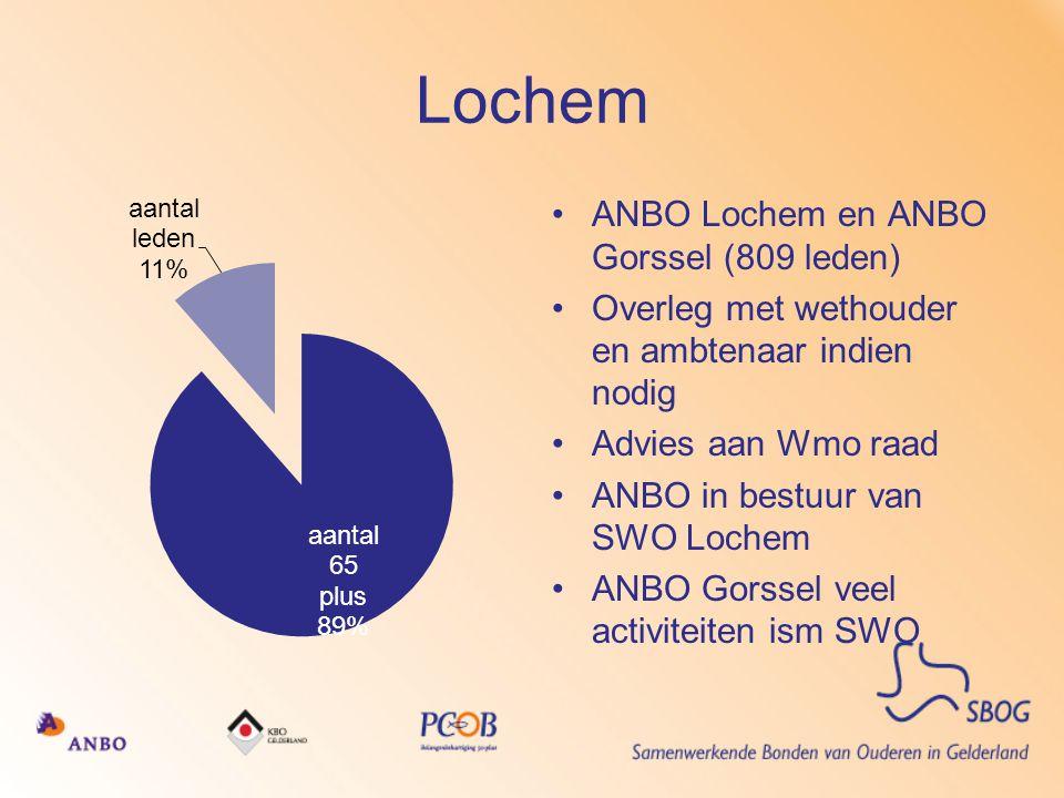 Lochem •ANBO Lochem en ANBO Gorssel (809 leden) •Overleg met wethouder en ambtenaar indien nodig •Advies aan Wmo raad •ANBO in bestuur van SWO Lochem