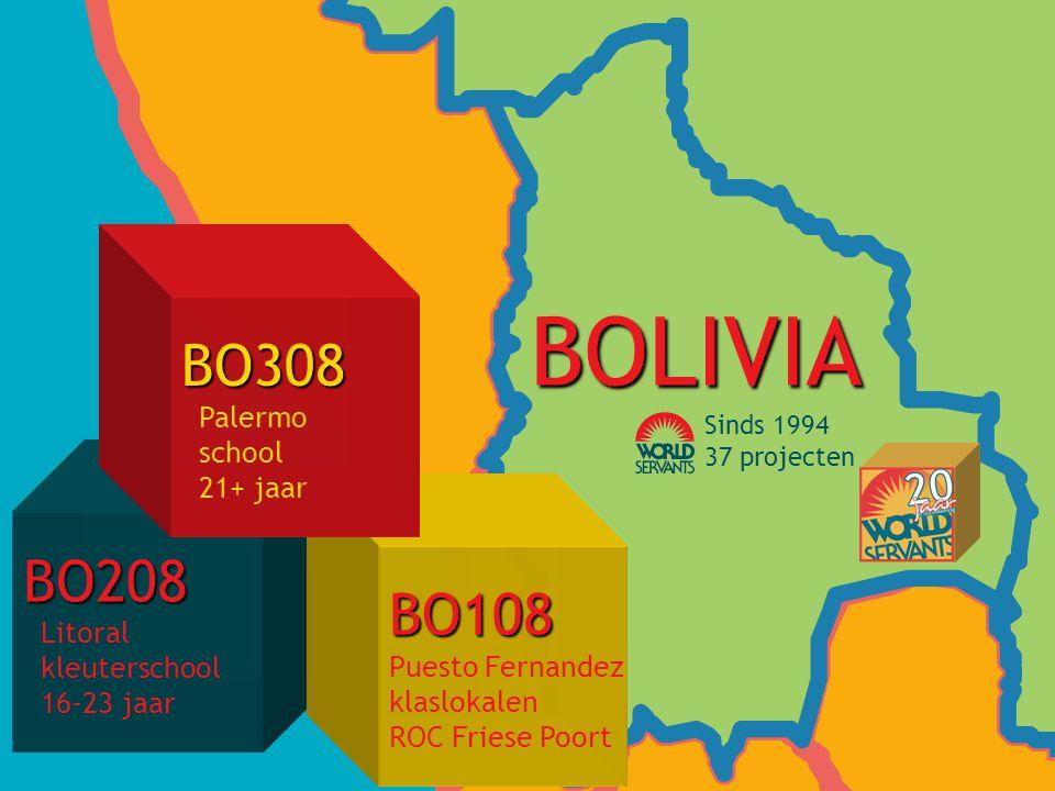 BO208 Litoral kleuterschool 16-23 jaar BO108 Puesto Fernandez klaslokalen ROC Friese Poort BO308 Palermo school 21+ jaar BOLIVIA Sinds 1994 37 projecten