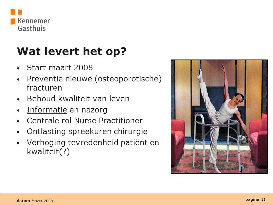datum Maart 2008 pagina 11 Wat levert het op? • Start maart 2008 • Preventie nieuwe (osteoporotische) fracturen • Behoud kwaliteit van leven • Informa