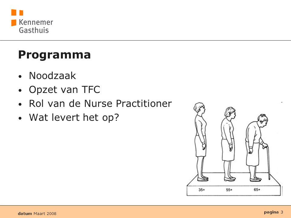 datum Maart 2008 pagina 3 Programma • Noodzaak • Opzet van TFC • Rol van de Nurse Practitioner • Wat levert het op?