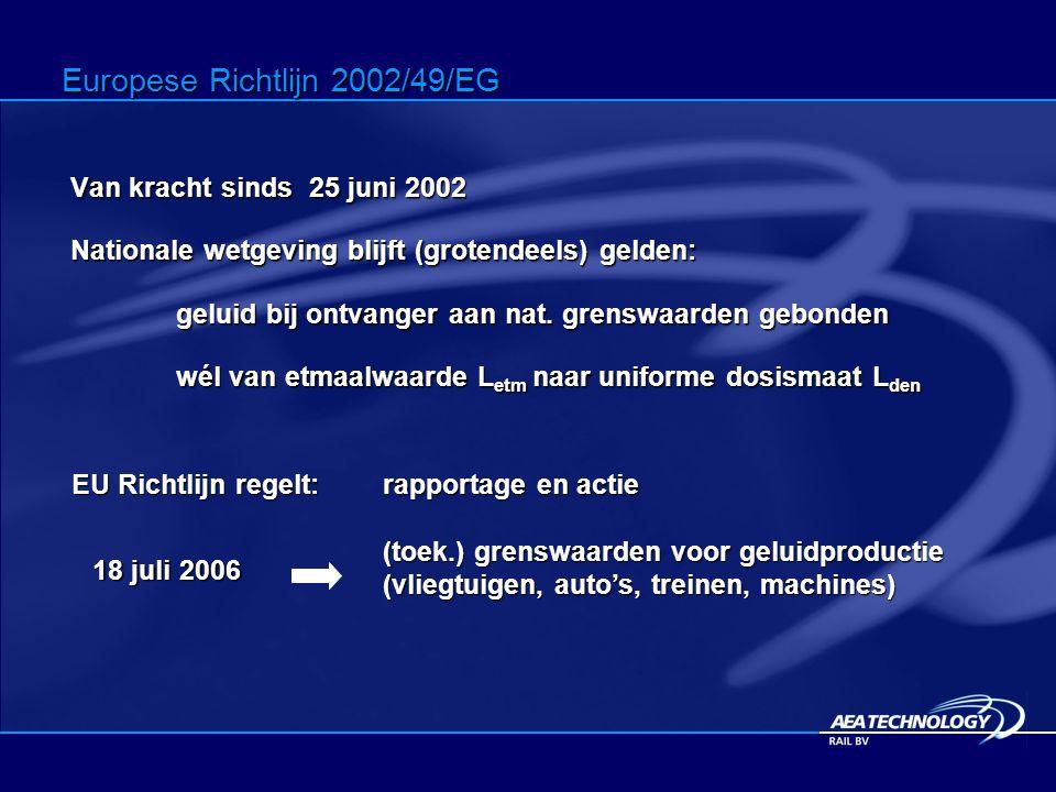 Van kracht sinds 25 juni 2002 Nationale wetgeving blijft (grotendeels) gelden: geluid bij ontvanger aan nat.