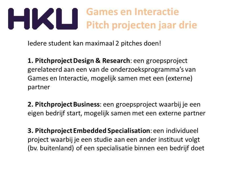 Pitch projecten jaar drie Iedere student kan maximaal 2 pitches doen! 1. Pitchproject Design & Research: een groepsproject gerelateerd aan een van de